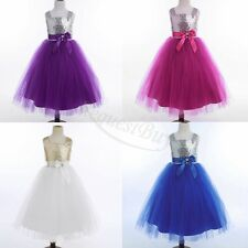 Kids Girls Sequins Pageant Formal Evening Birthday Party Cocktail Evening Dress