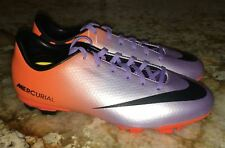 NIKE Mercurial Victory IV Purple Orange Black Soccer Cleats Youth 2.5 3.5 4 5.5