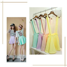 Womens 1X Women Skirt Suspender Skirt Pleated Summer Mini Skirt Candy Color