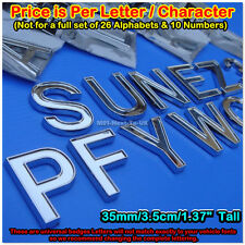 3.5cm Universal Chrome Lettering Alphabets 3D Badge Sticker Decal Emblem #FOLC-F