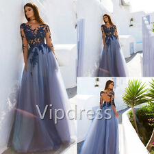 Blue Long Sleeve Evening Dresses Lace Appliques Beads Formal Prom Party Gowns