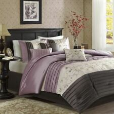 Luxury 7pc Purple & Grey Embroidered Floral Comforter Set AND Decorative Pillows