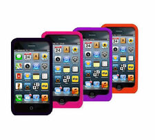 NEW PLAIN BLACK SOFT SILICONE GEL RUBBER CASE FOR IPHONE 4 4S PURPLE RED PINK