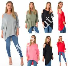 NEW WOMENS LADIES LONG BATWING CUT OUT COLD SHOULDER DIP HEM LOOSE FIT TUNIC TOP