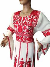 Thobe Caftan Red Embroidered Thob white Traditional Palestinian Jordanian Dress