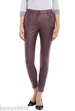 M&S Cranberry Leather Look Ankle Grazer Jeggings/Trousers Sz UK 24 reg