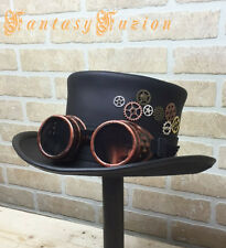 Steampunk Hat Cyber Goggles Gears Futurist Industrial Leather Top Hat