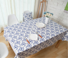 Tiny Blue Flower Bar Coffee Table Cotton Linen Cloth Cover oUSr