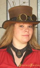Steampunk Hat Cyber Goggles Futurist Industrial Sci Fi Leather Top Hat Deluxe