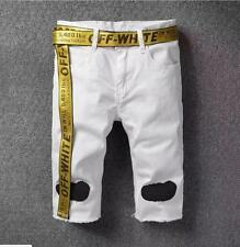 NEW OFF WHITE Unisex Men's Causal Pants Zebra stripe Shorts Jeans White Color