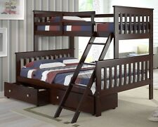 TWIN OVER FULL BUNK BED W/ TRUNDLE OR DRAWERS OPTION- CAPPUCCINO