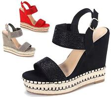WOMENS DIAMANTE WEDGE HEEL PLATFORM ANKLE BUCKLE ESPADRILLES SHOES SANDALS SIZE