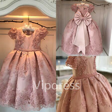 Vintage Pink Lace Flower Girl Dresses Applique Pearls Wedding Party Ball Gowns