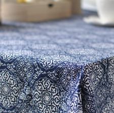 Japanese Blue Floral Home  Coffee Table Cotton Linen Cloth Cover oAUr