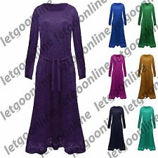 NEW Womens Ladies Floral Crochet Fully Lined Long Sleeve Belted Abaya Maxi Dress