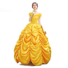 Adult Classic Beauty and The Beast Costume Belle Princess Evening Gown Dresses
