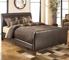 New Leather Sleigh Brown Bed Frame 4FT6 Double Bed + Mattress Options Available