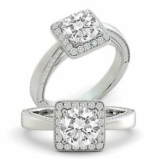 Diamond Engagement Ring Round Cut Natural GIA Certified 18k White Gold 1.55 tcw