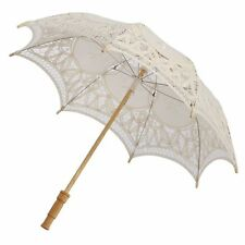 Kids Girl Handmade Lace Parasol White Sun Umbrella Wedding Party Accessory