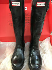 HUNTER Black Gloss Tall Rain Boots Size 7