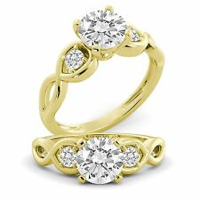 Diamond GIA Certified Round Cut Natural Engagement Ring 18k Yellow Gold 1.80 tcw