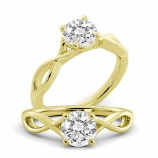 Round Cut Solitaire Engagement Ring Diamond GIA Certified 14 Gold Yellow 1.00 ct