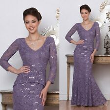 Purple Mother Of The Bride Dresses Lace Appliques 3/4 Sleeve Jacket Evening Gown