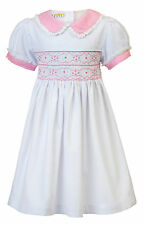 """AURORA ROYAL TRADITIONAL HAND-SMOCKED """"GOLDIE"""" PIQUE COTTON EMBROIDERED DRESS"""