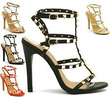New Womens High heels Sandals Ankle Strap Open Toe Studded Gladiator Summer Shoe