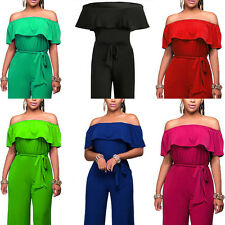 Ladies Jumpsuit Word Collar Lotus Leaf High Waist Wide Leg Dress Playsuit Pants