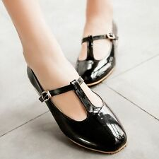 SALE Women's Patent Leather T-Strap Mary Jane Shoes Flats Casual Round Toe Shoes