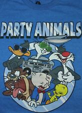 Mens Looney Tunes Bugs Bunny Taz Party Animal T-Shirt Tee S/Slv Blue NWOT Small