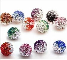 Free ship 10/50pcs Disco Ball Pave CZ Crystal Spacer Beads Fit Bracelet 10 12mm