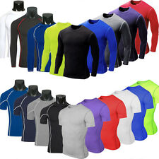Mens Compression Base Body Armour Thermal Under Skin Training T-Shirt Fitness