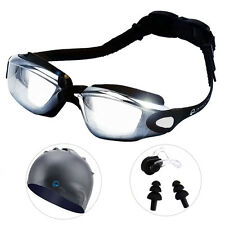 Adult Anti Fog UV Protection Swimming Goggles+Swim Cap +Nose Clip+Ear Plugs Set