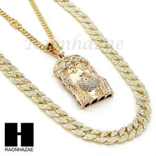 ICED OUT JESUS FACE PENDANT 6mm CUBAN/12mm ICED OUT CUBAN CHAIN NECKLACE SET S36