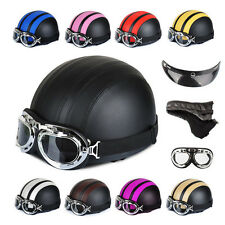 8 COLOR  Motorcycle Scooter PU Open Face Half Helmet With Sun Visor+Goggles