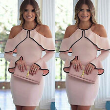 Women Elegant Pink Flounce Flared Sleeve Short Dress Cocktail Party Evening Gown