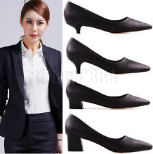 New Womens Low Mid Chunky Kitten Heels Pointed Toe Pumps Office Work Court Shoes