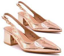 Women's Sling Back Pointed Toe Block Low Heels Shoes Chunky Heels Pumps Sandals