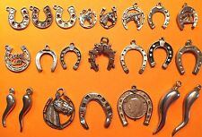 Vintage sterling silver charms: lucky HORSESHOE & HORN OF PLENTY