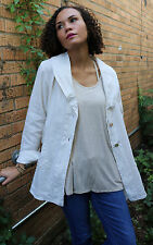 NEW Bryn Walker Lagenlook Boho Chic Linen Barnaby Jacket Cream Size S-L