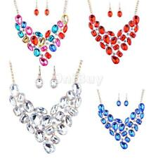Bridal Crystal Teardrop Pedants Necklace Dangle Earring Wedding Fine Jewelry Set