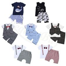 2PCS Baby boys Summer Short Sleeve T shirt tops+shorts Casual clothes Outfit Set