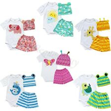 3pcs Boy Girl Baby Newborn Unisex Cute Cap Hat+Romper+Shorts Clothing Set 0-18M
