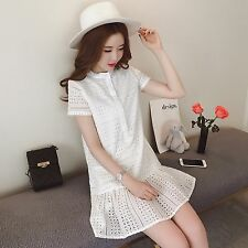 Korean Solid Fashion Women Summer Collar Short Sleeved Hollow Flounced Dress