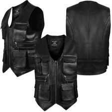 ARD Men's Leather Motorcycle Cargo Hiking Vest with Gun Pocket and Front Pockets