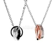 Retro Engraved Couple Ring Charm Pendant Stainless Steel Lover Romantic Necklace