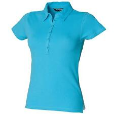 New SKINNI FIT Womens Ladies Stretch Fitted Casual Polo Shirt in 6 Colours S-XL