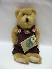 """Boyds Teddy Bear Brown Jointed Plush Maroon Velour Jumpsuit 10"""" Cute"""